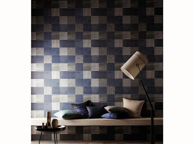 Mur damier bleu