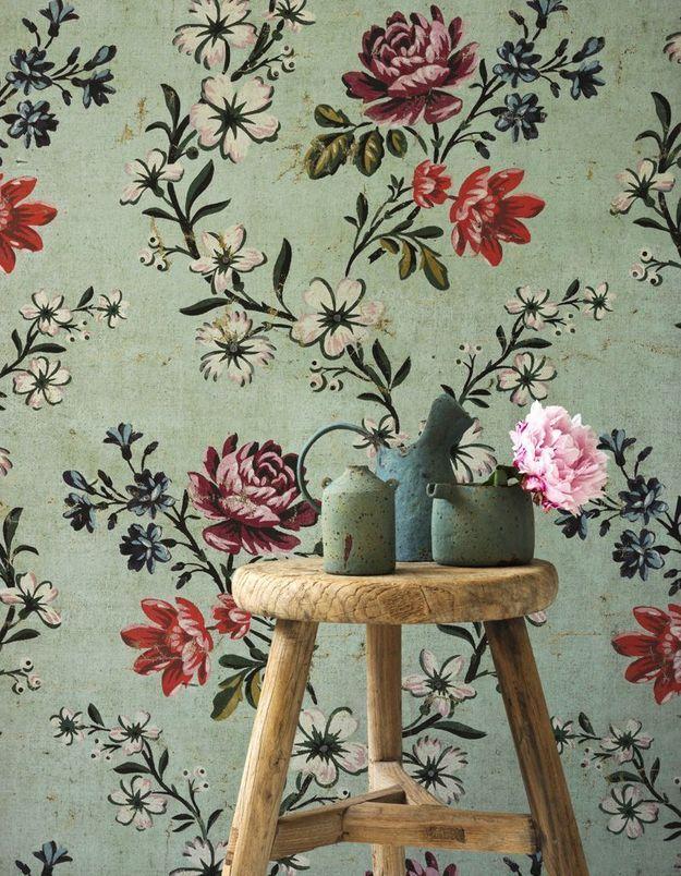 Papier peint fleuri Braquenié