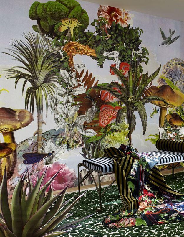 Papier peint fleuri Maison Christian Lacroix