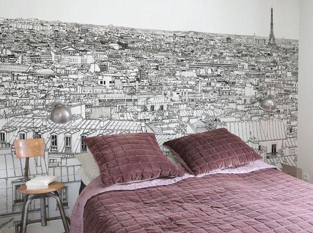 Un papier peint noir et blanc très parisien