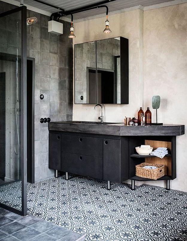 Carreaux de ciment dynamiques dans la salle de bains