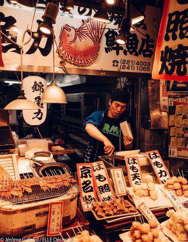 Marché de Nishiki - Couteaux et victuailles