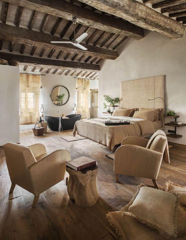 La chambre de l'hôtel Monteverdi en Toscane