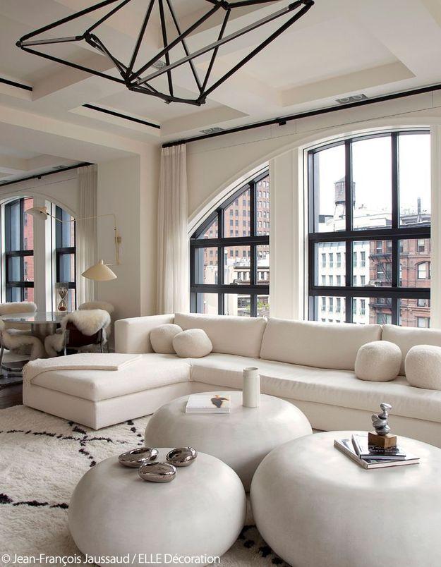 Salon blanc avec vue