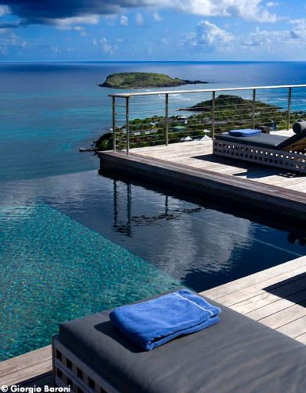 Maison de Johnny Hallyday à Saint-Barth : la piscine