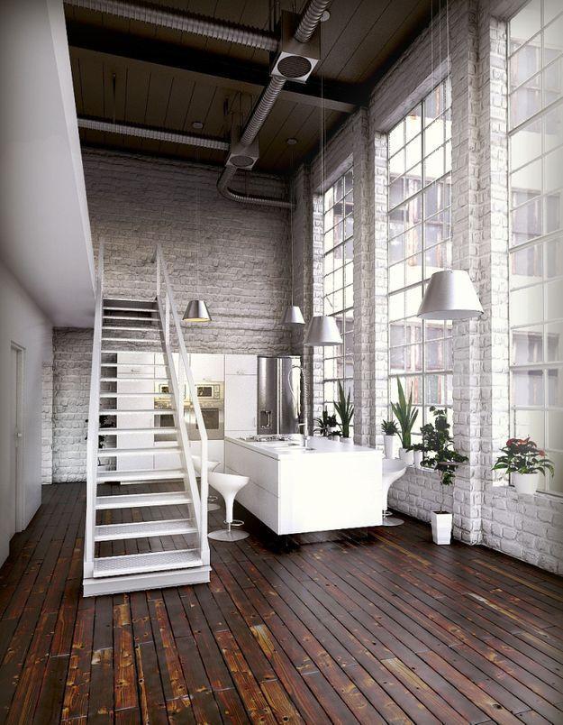 Un loft de rêve avec briques blanches