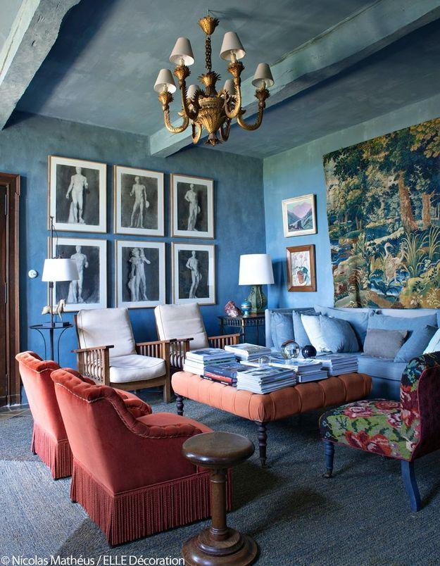 Le petit salon au plafond bleu