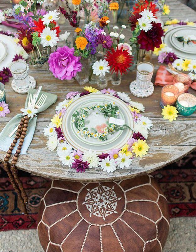 Embrasser le style hippie chic pour la déco de table de mariage