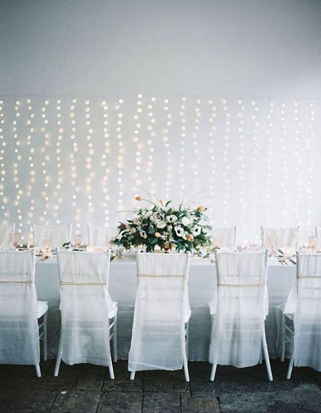 Rideau de lumière pour une décoration murale de mariage