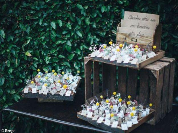 Un plan de table de mini bouquets