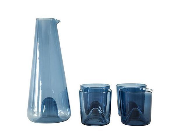 Carafe et verres bleu