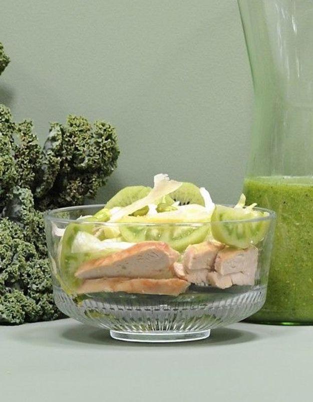 Recette minceur rapide : salade verte au poulet