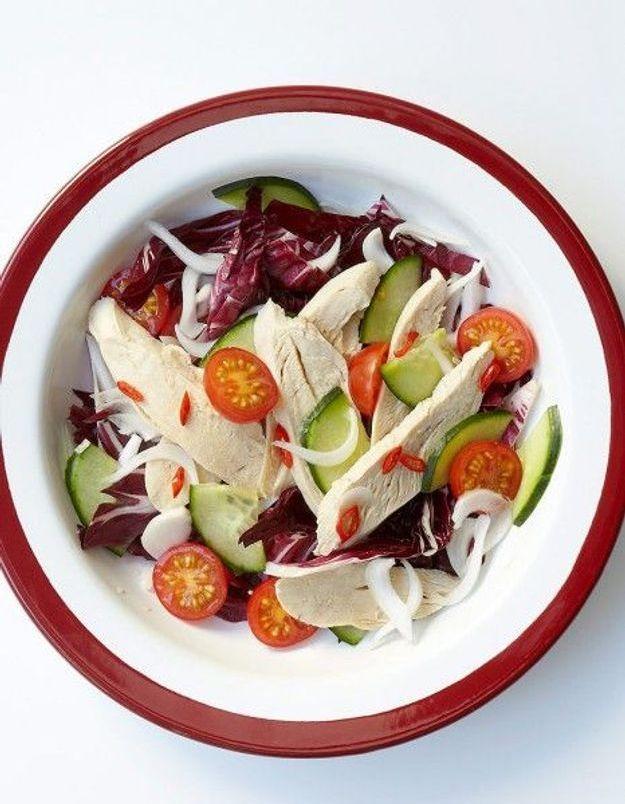 Recette minceur soir : salade de poulet pimentée