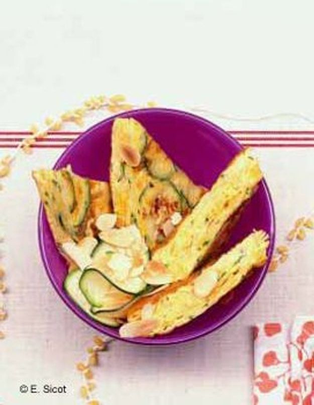 Omelette froide courgettes et amandes
