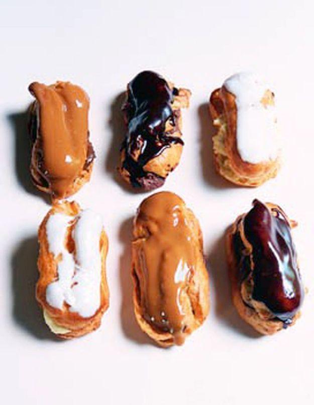 Eclairs chocolat, café, vanille