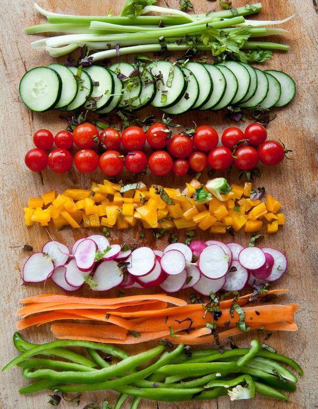 Avec des légumes croquants