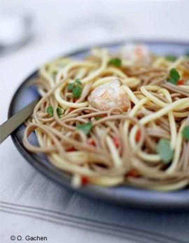 Cuisine recettes été grandes tablées : Pâtes langoustines chorizo