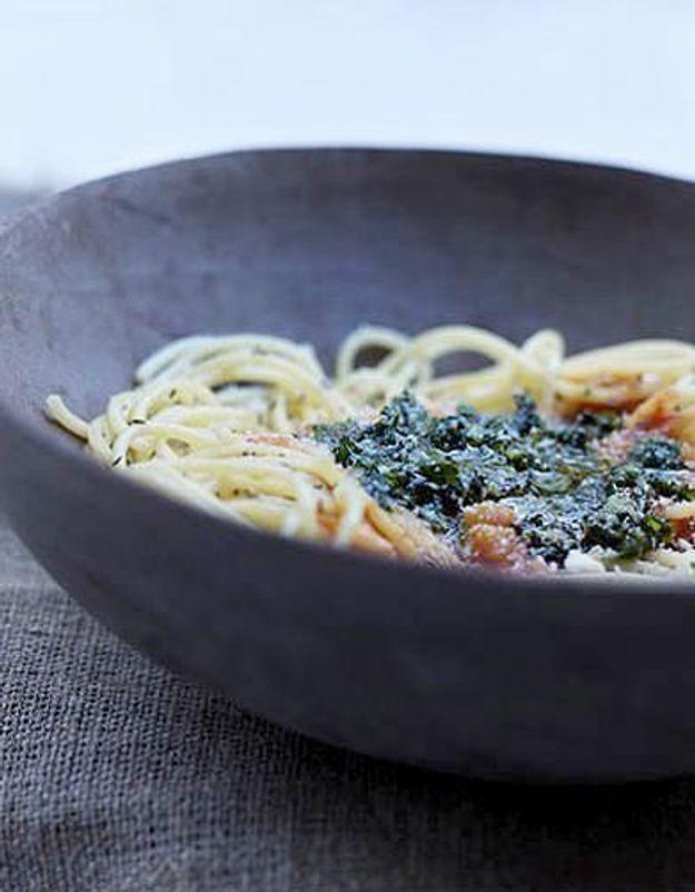 Cuisine recettes été grandes tablées : Salsa au pesto et spaghettata minute