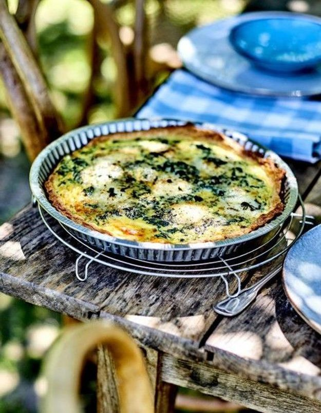 Cuisine recettes été grandes tablées : Tarte épinards et chèvre Sainte-Maure