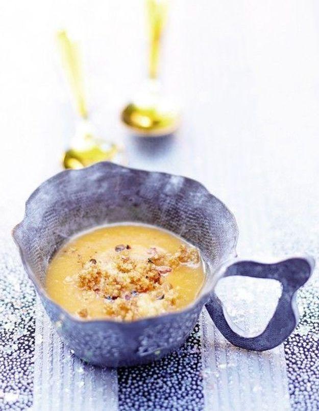 Soupe de légumes : Saint-jacques et potimarron, chapelure de pain d'épices