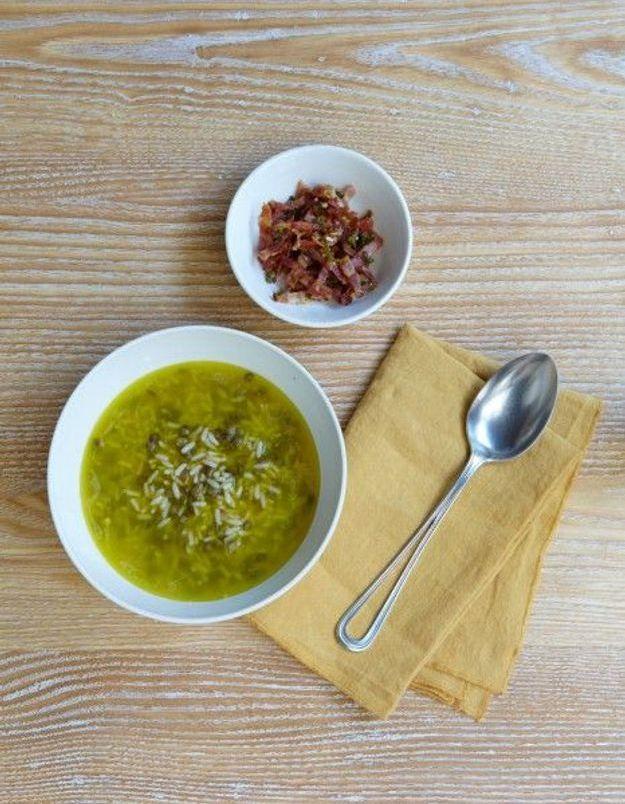 Soupe de légumes : Velouté de riz et lentilles, lardons persillés