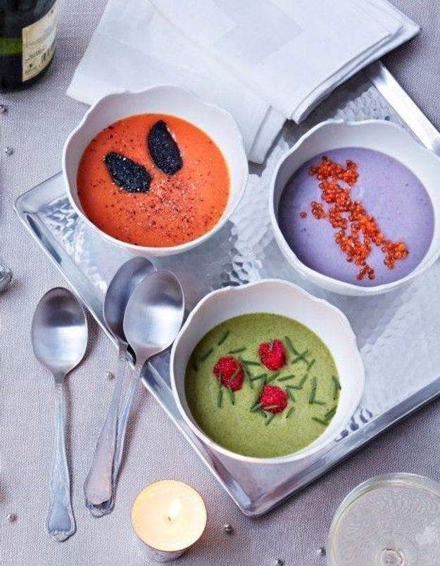 Soupe de légumes : Veloutés colorés de potiron, panais et brocoli