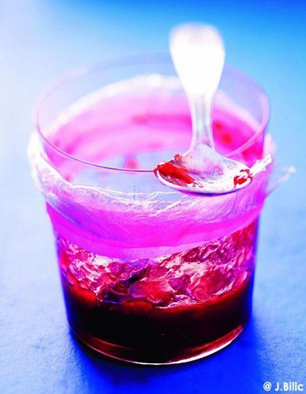 Confiture de fraises, rhubarbe et rose