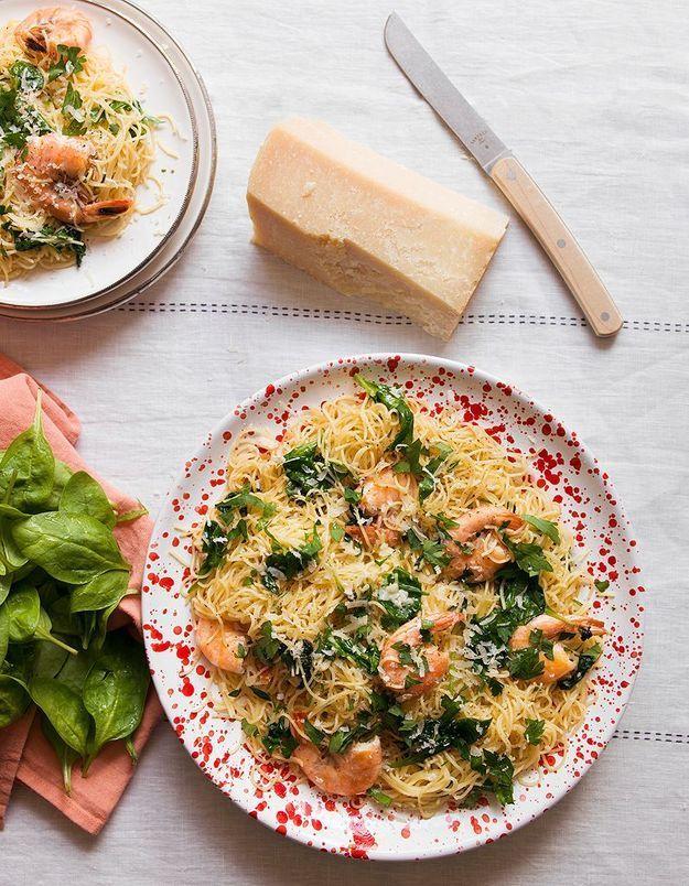 Salade de capellini, crevettes et épinards