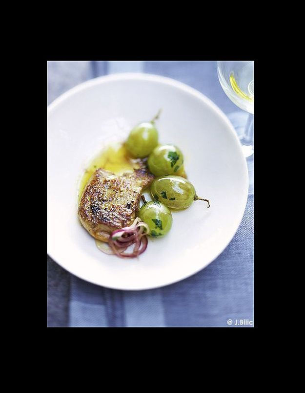 Foie gras et raisins poêlés