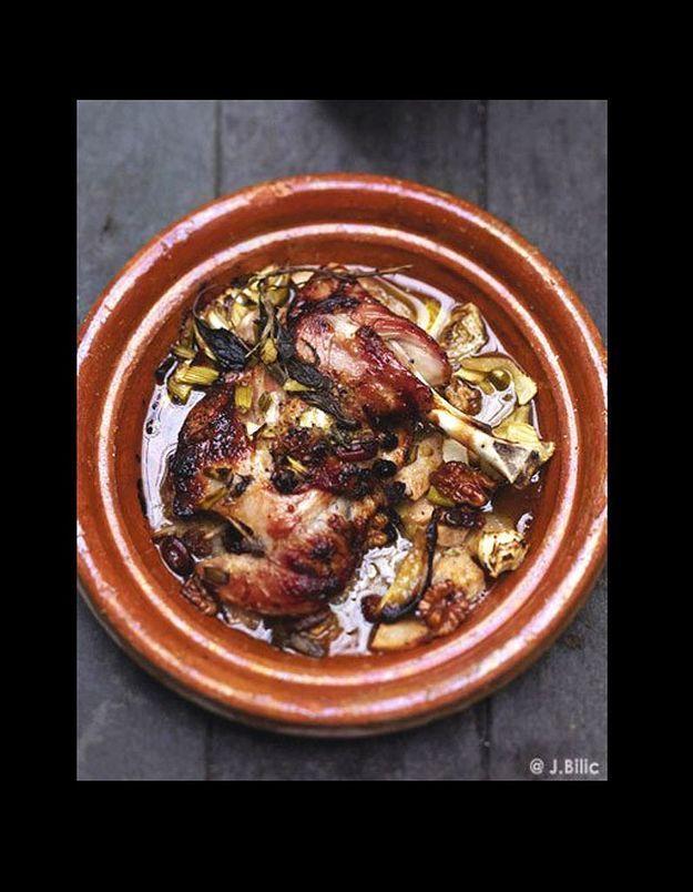 Tagine d'épaule, fenouil, poires et fruits secs