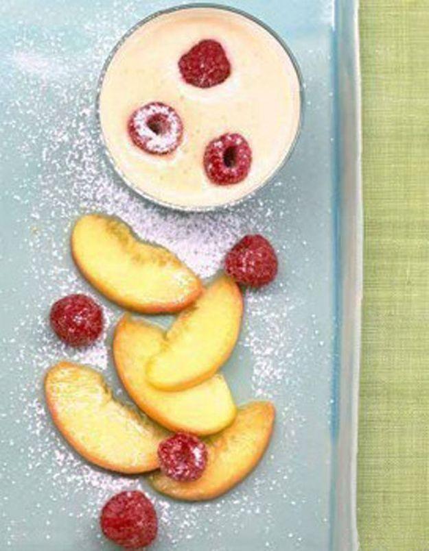 Crème légère au soja et aux brugnons