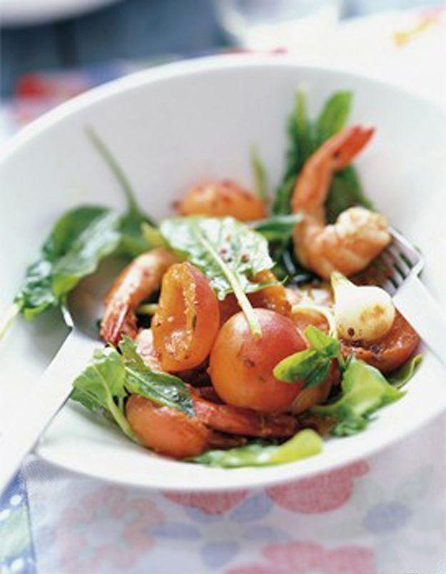 Salade de crevettes et abricots au piment vert