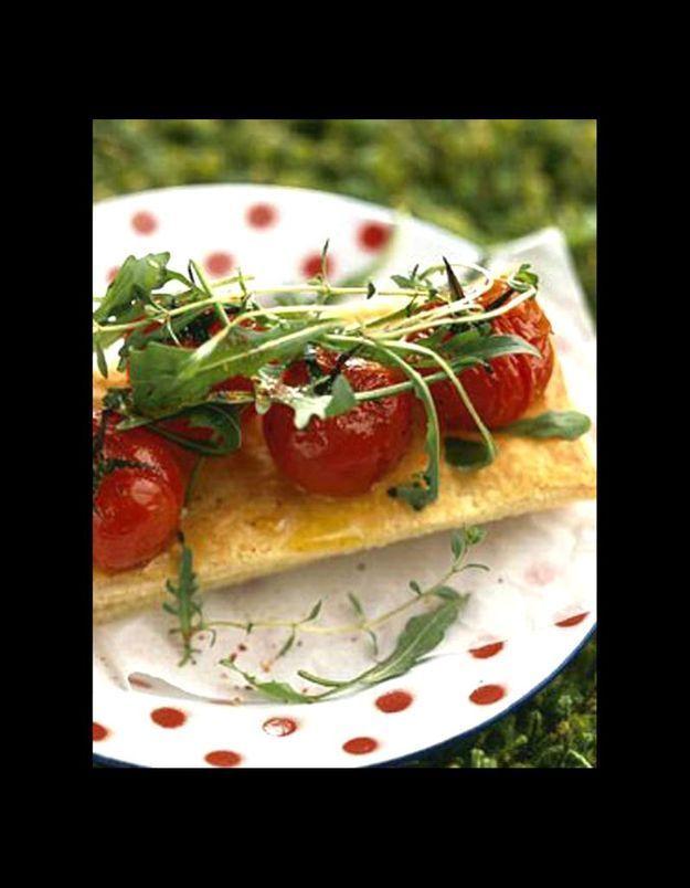 Millefeuilles de tomates confites aux herbes