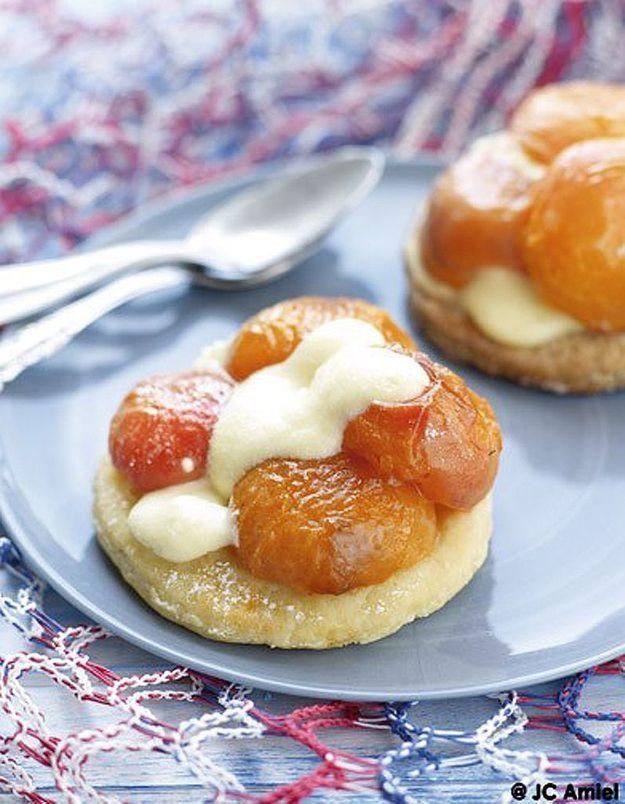 Sablés, abricots poêlés et mousse de yaourt