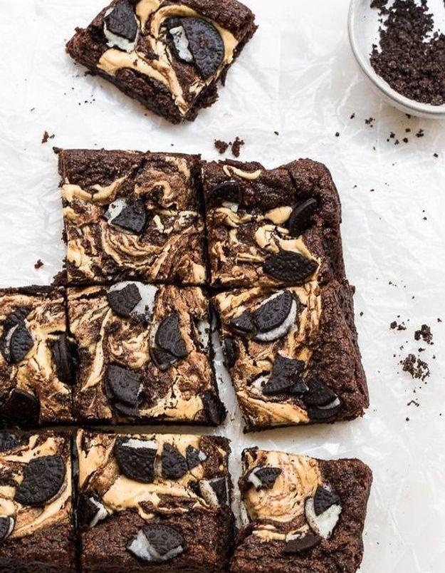 Brownie vegan beurre de cacahuètes oreo fudge