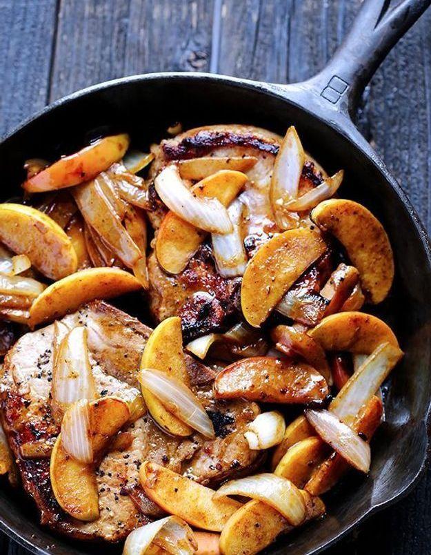 Côtes de porc pomme et cannelle