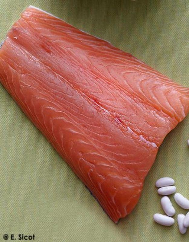 Saumon aux haricots et au céleri