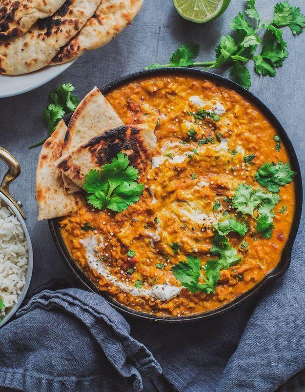 Les lentilles corail en curry vegan