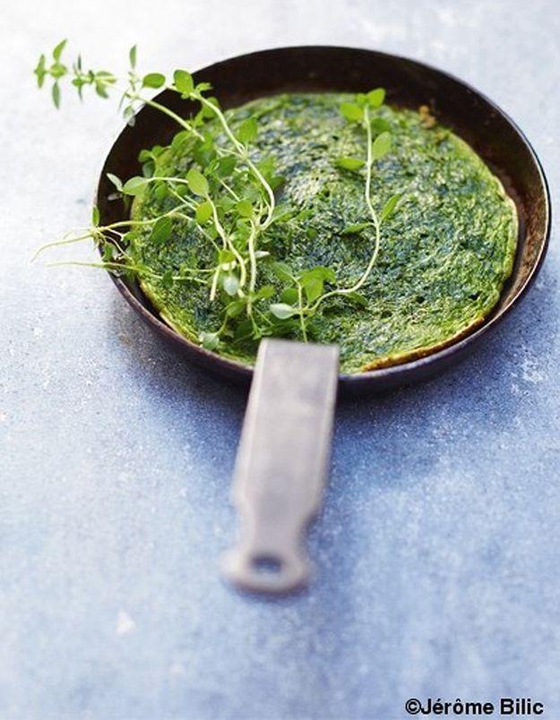 Mini-omelette aux épinards et herbes