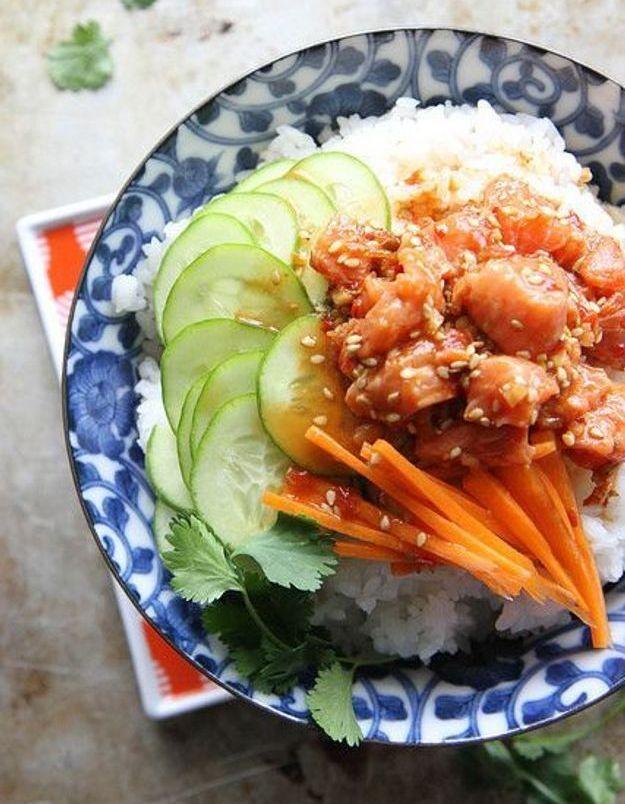 Poke bowl de saumon épicé