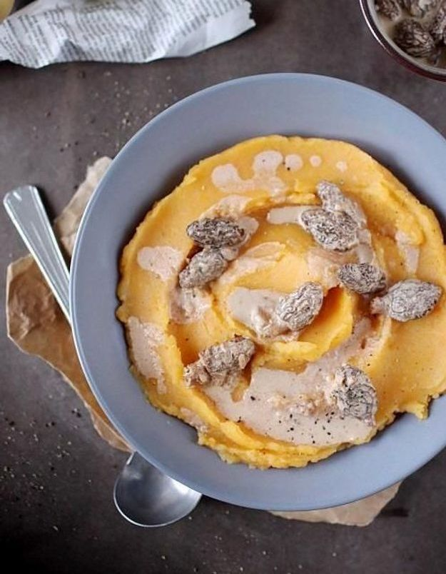 Purée de patate douce aux morilles