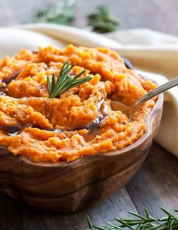 Purée de patate douce et romarin