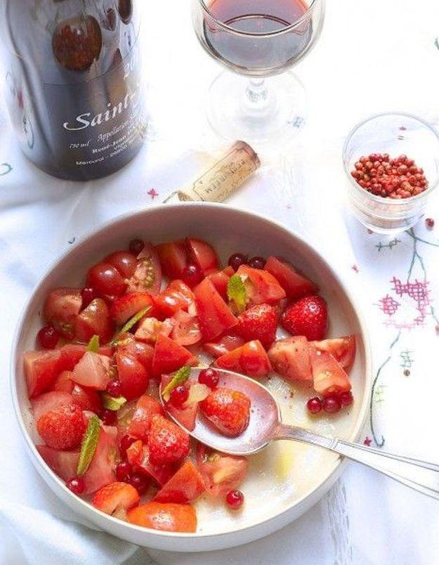 Salade de tomates, fraises, framboises et groseilles