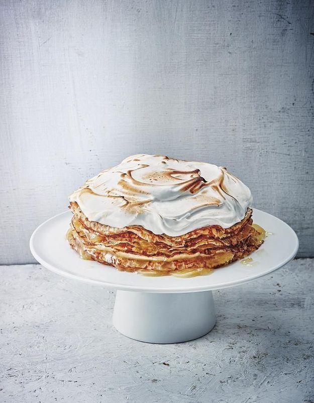 Gâteau de crêpes citron meringué