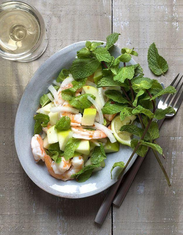 Salade crevettes, pommes, menthe