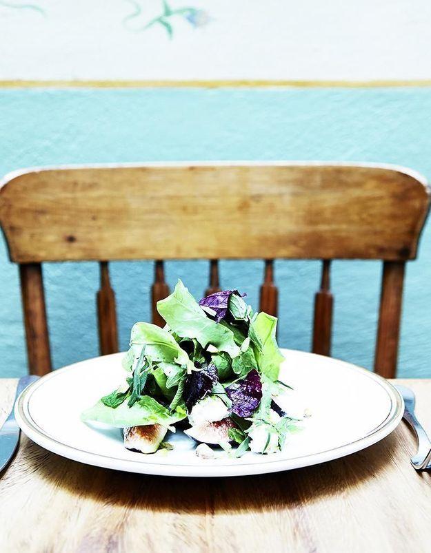 Salade d'herbes, ricotta, orange sanguine et figues