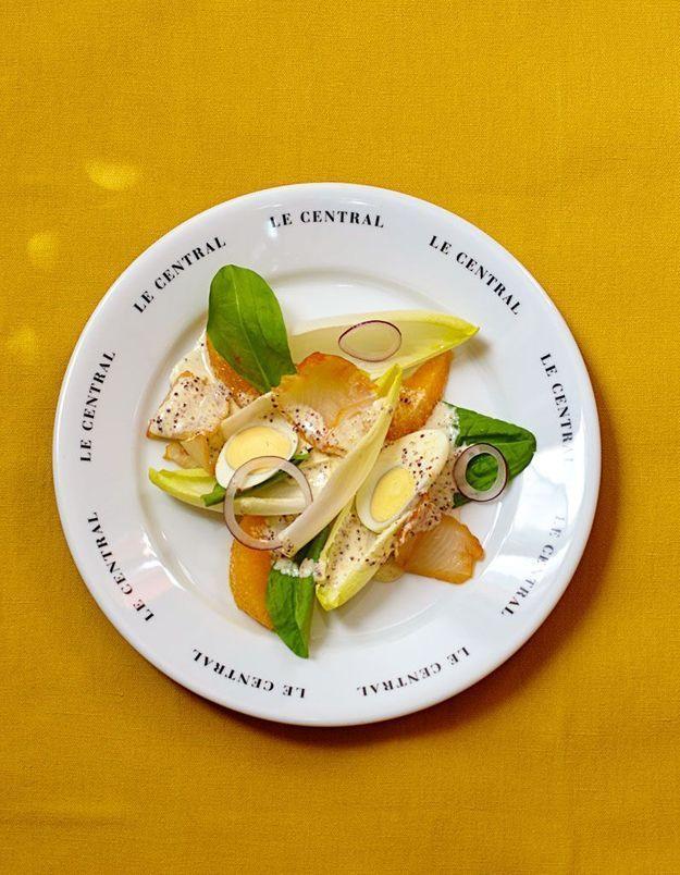 Salade d'oseille et d'endives au haddock
