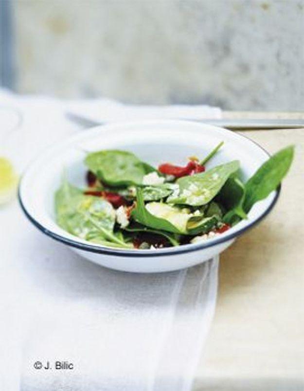 Salade d'épinards aux légumes confits