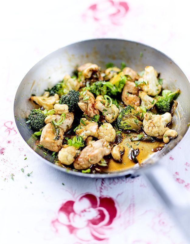 Poulet sauté aux oignons nouveaux, légumes et sauce soja