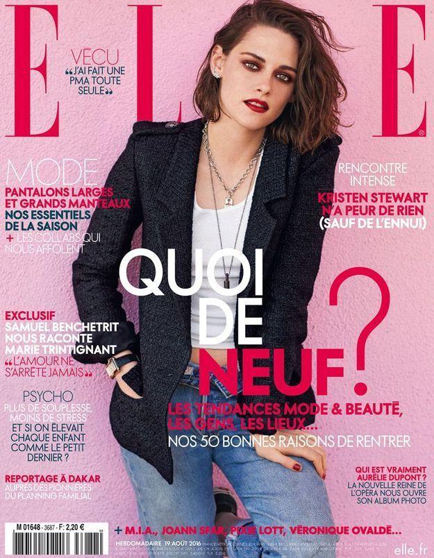 Kristen Stewart,  icône rebelle en couv de ELLE